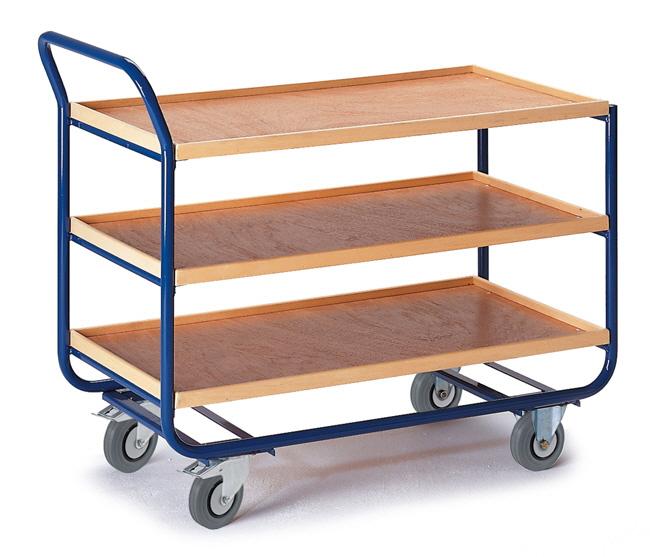 tischwagen mit profillleisten mit schiebeb gel drei etagen. Black Bedroom Furniture Sets. Home Design Ideas